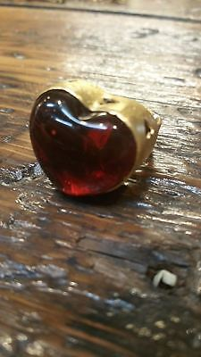 Barbosa San Miguel De Allende Mexico Gold & Red Sacred Heart Adjustable Ring