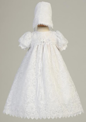 Baby Flower Girls White Floral Lace Dress Gown Bonnet Christening Baptism Easter