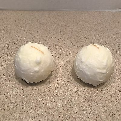 """Partylite 3"""" Snowball Candles  SET OF 2 CANDLES"""
