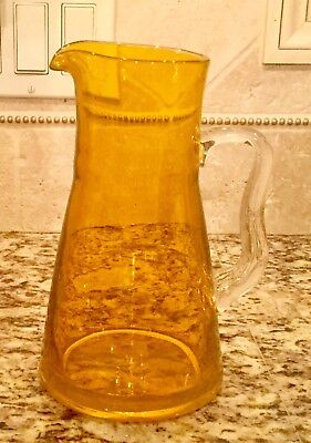 Vintage  Glass Tangerine Pitcher With Clear handle - 9""