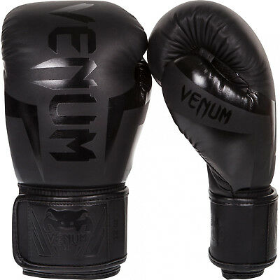 Venum Boxing Gloves Elite Black Muay Thai Kickboxing MMA Sparring Training Fight