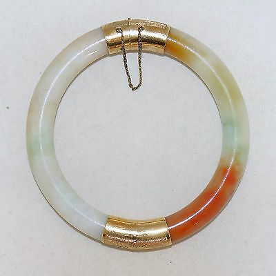 Vintage Chinese 14K Gold, Orange & White JADEITE Jade Bangle Bracelet  (59.8g)