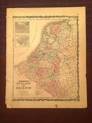 1863 Johnson and Ward Hand Colored Atlas Map of HOLLAND AND BELGIUM