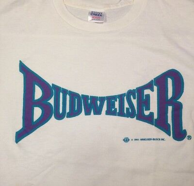 Vintage 90s Budweiser T Shirt Spell Out Medium USA Purple/Teal Letters