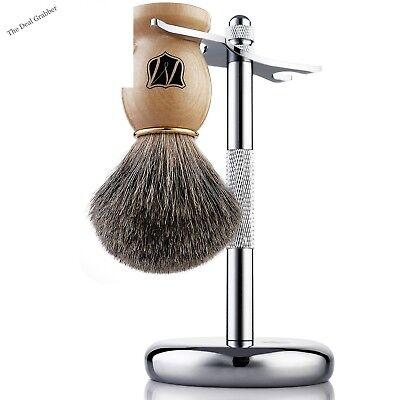 Miusco Badger Hair Shaving Wooden Brush and Chrome Stand