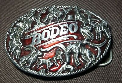 Vintage SiskiYou pewter RODEO belt buckle, Made in USA, bull bronc riding roping
