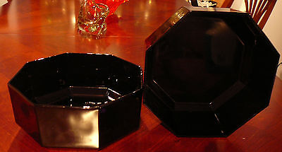 "2 Vintage Black Arcoroc Octime Black Glass 9"" Bowls Salad Vegetables Potatoes"