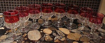 8 Ruby Flashed King's Crown Tiffin Franciscan 5 Oz  Cordial Glasses