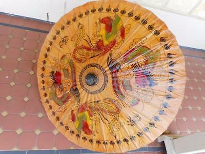c.1940's Vintage Asian Stunning Oriental Wax Paper Bamboo Parasol Great Cond