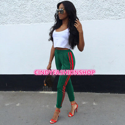 Women Green Trousers European Style Track Pencil Pants Casual Side Stripped