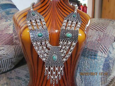 Rare Antique Yemenite Made In Israel Sterling Silver 925 Eilat Stone Necklace