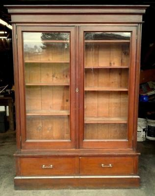 Step Back Bookcase or Showcase 2 Doors and Drawers Cherry 1860 Antique
