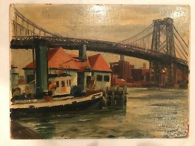Antique Oil Painting of Brooklyn Bridge New York City Impressionist c 1940s