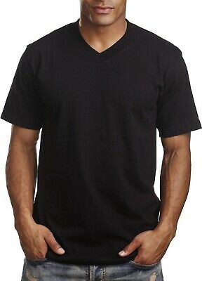 New Pro 5 Pro5 V-Neck Plain T Shirts Basic Tee Short Sleeve Solid Color - Black