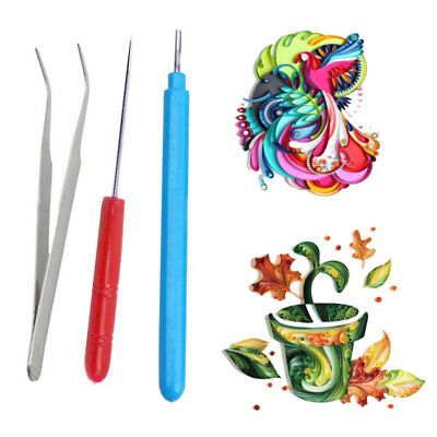 3pcs Paper DIY Set Quilling Paper Tools Tweezer Needle Pins Slotted Pen Gifts
