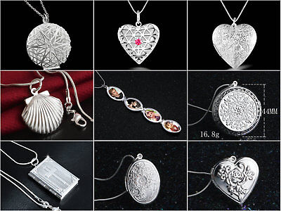 925 Sterling Silver PLT Photo Picture Solid Hollow Locket Pendant Chain Necklace