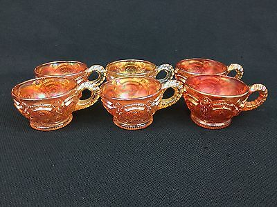 Marigold Carnival Glass Imperial Fashion SIX Punch Cups