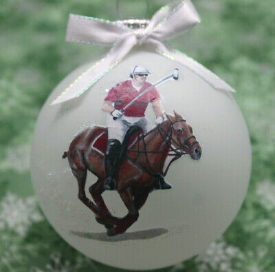H067 Hand-made Christmas Ornament - horse - polo pony maroon galloping sorrel