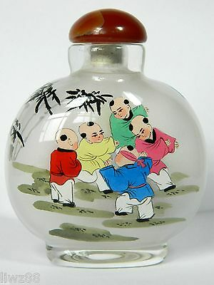 Chinese Hand Inside Drawing Snuff Bottle,Children Playing in Garden Pattern