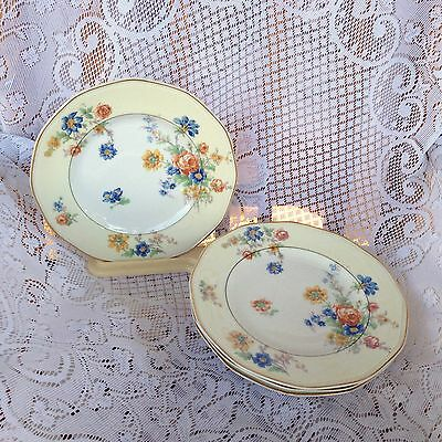 """4 Haviland Limoges France """"MY GARDEN"""" Plates 7 1/4 inches (589)"""