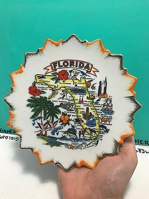 Florida State Decorative Souvenir Collector Hanging Plate With Gold Trim Around