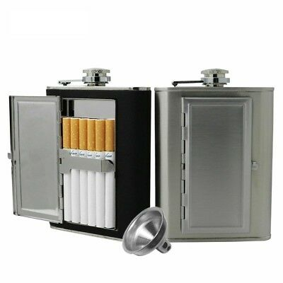 Hip Flask Cigarette Case Stainless Steel Liquor 5/6 OZ PU Leather Covered Flask
