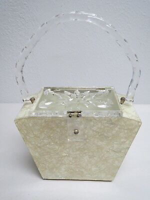 Vintage 1960s Gold Confetti Cream Lucite Clear Carved Lid Clear Handle Box Purse