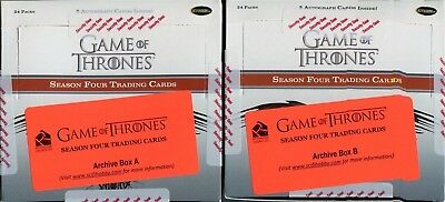 Rittenhouse Game of Thrones GoT Season 4 Factory Sealed Archive Box Autograph