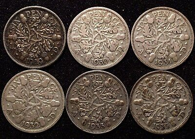 LOT of 6 Great Britain 6 Pence Sixpence, 1929 1930 1931 1932 1933 1935
