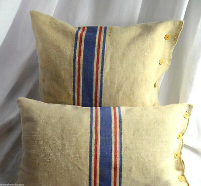 Unique French pure linen cushion cover made from a hand loomed grain sack