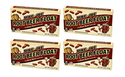 909257 4 x 141g BOX OF MIKE AND IKE CHEWY ROOT BEER FLOAT FLAVOURED CANDIES! USA
