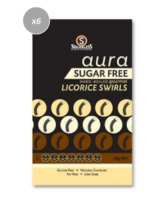 903827 4 x 70g BAGS OF SUGARLESS AURA SUGAR FREE HARD BOILED LICORICE SWIRLS!