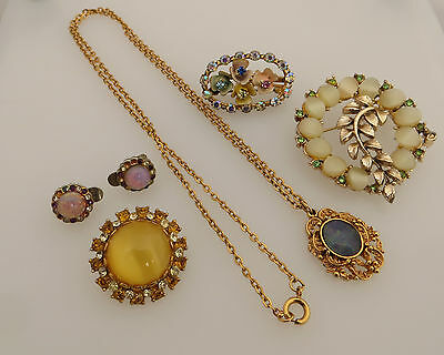 Vintage Costume Jewellery 3 Brooches Earrings & Gold Tone Pendant With Faux Opal