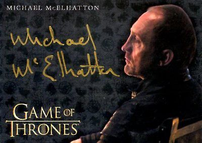 Game Of Thrones Valyrian Steel GOLD AUTOGRAPH card MICHAEL MCELHATTON as ROOSE