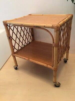 Table Serving Roulante Years 60' Rattan Vintage