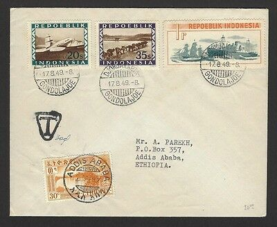 Indonesia 1949 Blockade 1r etc on 1949 cover to Ethiopia with Postage Due