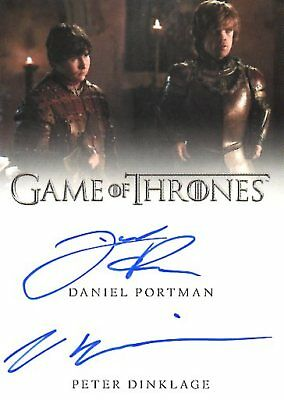 Game Of Thrones Valyrian Steel DUAL AUTOGRAPH card PETER DINKLAGE & PORTMAN