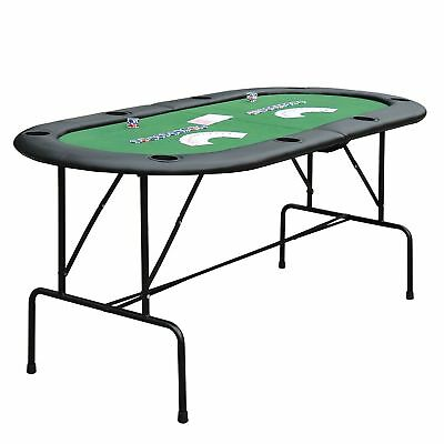Foldable Poker Table Rest Rail Casino 8 Players Game Chip Trays Drink Holder