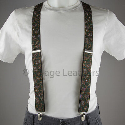 Paisley Green Braces Suspenders made in England