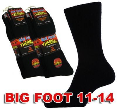 Bnwt- 12 Pairs Big Foot Black Thermal Socks -  Size 11-14 Free Post To Uk Only