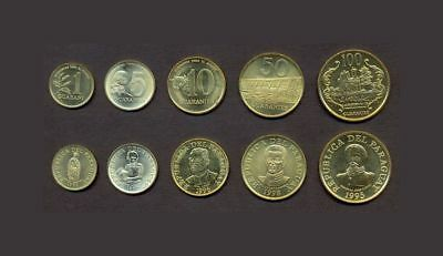 PARAGUAY COIN SET 1+5+10+50+100 Guaranies 1992-2005 UNC LOT of 5