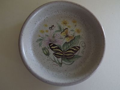 Purbeck Pottery Flower & Butterfly Trinket Dish (70,67)