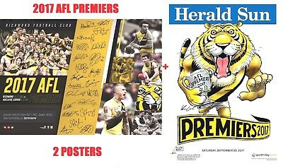 Richmond Tigers 2017 Afl Premiers & Herald Sun Mark Knight Premiership Poster