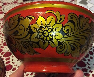 Russian Authentic Folk Art Hand Painted Lacquer Wooden Bowl & Spoon x 2