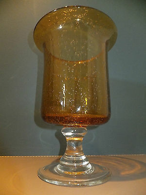 Retro Amber Art Glass Vase Large Controlled Bubble on Clear Glass Pedestal