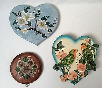 Lot of Three Vintage Hand Painted Decorative Wall Art Pieces on Wood Signed
