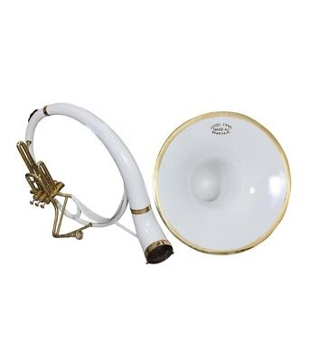 """SOUSAPHONE Bb PITCH 21"""" BELL WITH FREE CARRY BAG AND MOUTHPIECE, WHITE COLOR"""