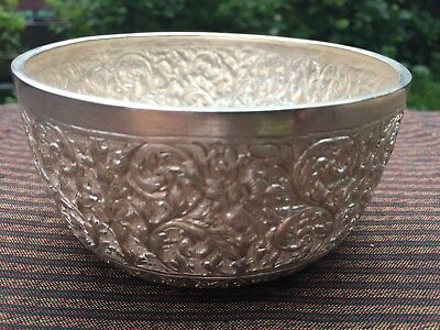 Unique Ornate Solid Silver Asian Thai Handcrafts Exotic Bowl Embossedwith floral