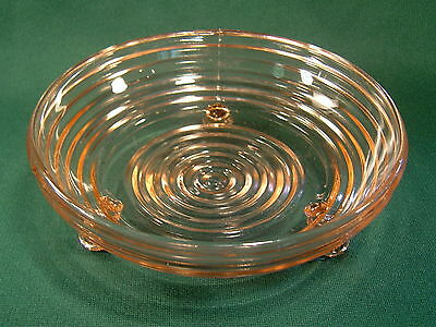 "Anchor Hocking Pink Manhattan 3 Footed 6-1/4"" Candy Dish  ~ 1938-1943"