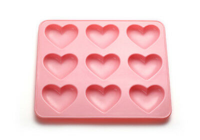 Silicone heart mold - 9 Cavity - pink- Puffy heart